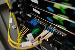 Close-up of rack mounted server Stock Photos