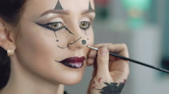 Make up artist make the girl halloween picture of mouse Stock Footage