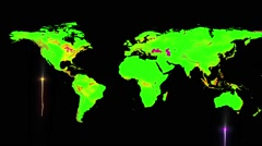 Worldwide map with fireworks Stock Footage