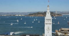 High Angle Establishing Shot Ferry Building Clocktower in San Francsico	 	 Stock Footage