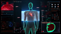 Female scanning heart. Human cardiovascular system in digital dashboard. HD. Stock Footage