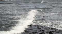 Powerful Sea Wave And Rock. Wave Hitting Rock Stock Footage