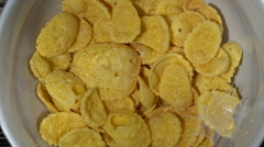 Corn flakes in a bowl. Stock Footage