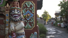 Typical balinese street Stock Footage