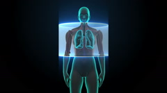 Scanning body. Rotating Human Female  lungs, Pulmonary Diagnostics. HD Stock Footage