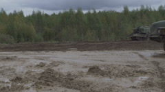 Army Staff Russian truck driving on dirt road Stock Footage