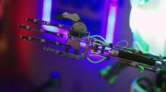 Moving parts humanoid robot. Future technologies. Robotic Stock Footage