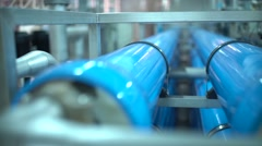 Steel pipes for water supply in the factory. Pure water plant Stock Footage
