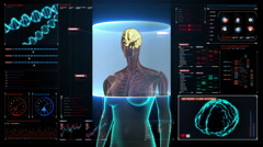 Scanning Brain in female body in digital display dashboard. X-ray view. HD. Stock Footage