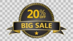 Big Sale motion tag. Discount and special offer. 20% off. Stock Footage