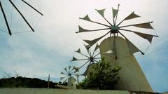 Turning old Greek windmills Stock Footage