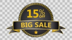 Big Sale motion tag. Discount and special offer. 15% off. Stock Footage