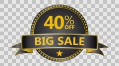 Big Sale motion tag. Discount and special offer. 40% off. Stock Footage