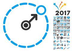 Round Area Border Icon With 2017 Year Bonus Symbols Stock Illustration