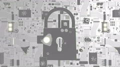 White Futuristic Circuit Board with Security Icon Stock Footage