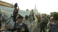 Thai King's Death Horse Mounted Police Stock Footage