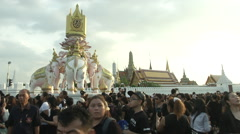 Thai King's Death Crowds Gather Near Palace Stock Footage