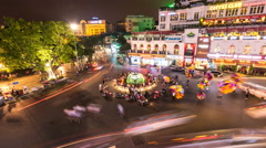Time lapse-Evening traffic in old quarter in Hanoi,  Vietnam-02(zoom) Stock Footage