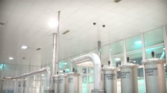 Steel pipes for water supply in the workplace. Pure water plant Stock Footage