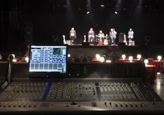 Sound studio adjusting record equipment. Stock Photos