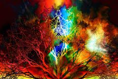 Beautiful ornamental mandala with tree pattern, symbol of life Stock Illustration