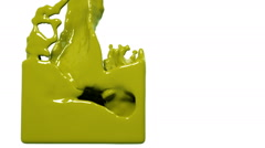 Yellow paint flow fills up a container slowly. Colored liquid Stock Footage