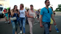 The crowd of passers-by walking on the street of the city, a large number of Stock Footage