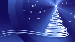 Christmas Tree From White Tapes And Snowflakes Over Blue Metal Background Stock Footage