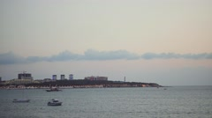 Entrance in Gelendzhik Bay and the lighthouse Stock Footage