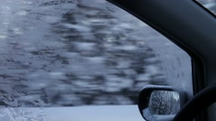 Driving through a snowy forest - side window close up  Stock Footage