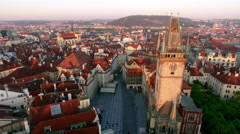 Aerial view of old center of Prague, Czech Republic Stock Footage
