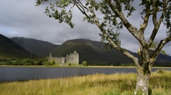 Kilchurn Castle ruin along Loch Awe, Argyll and Bute, Scotland, UK Stock Footage