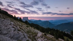 Timelapse of Mont Aiguille at sunset, Alps Stock Footage