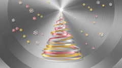 Christmas Tree From White, Pink And Yellow Tapes With Snowflakes Stock Footage