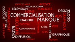 Marketing, branding word tag cloud - red, French variant Stock Footage