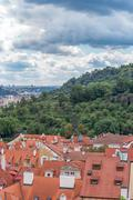 Scenic view of the historical center of Prague: the glorietta of the US embas Stock Photos