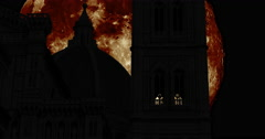 Silhouettes of the Florence Cathedral with giant moon Stock Footage
