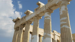 Gimbal shot walking past columns of the parthenon in athens Stock Footage