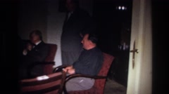 1967: business meeting in the house FRANCE Stock Footage