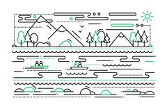 Water Tourism - line flat design illustration Stock Illustration