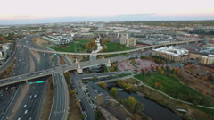 Aerial view of traffic on highway I25. Stock Footage
