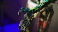Moving parts humanoid robot. Future technologies. Stock Footage