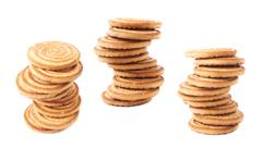Twisted stack of cookies isolated over the white background Stock Photos