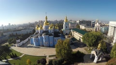 Aerial view of the autumn Kiev, St. Michael's church Stock Footage