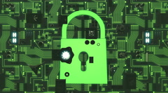 Green Illuminated Futuristic Circuit Board with Security Icon Stock Footage