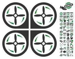 Quadrotor Screws Rotation Icon With Bonus Stock Illustration