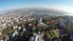 Aerial view of the autumn Kiev, Podol, St. Andrew's church Stock Footage