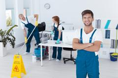Man working for cleaning service Stock Photos