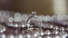 Wedding rings with diamonds Stock Footage