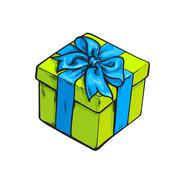 Red square gift box with bow and ribbon Stock Illustration